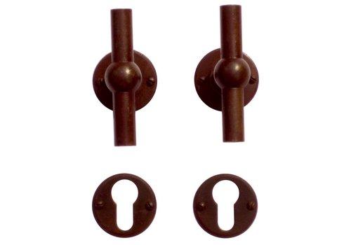 Poignées de porte Petra NM T+T rouille rondes avec plaques cylindriques