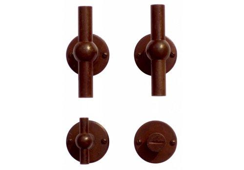 Door handles Petra NM T+T rust round met WC