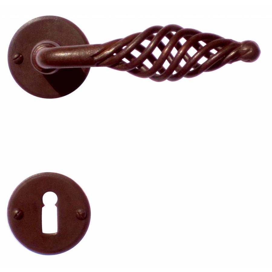 Deurklinken Spiralus roest rond met sleutelplaatjes