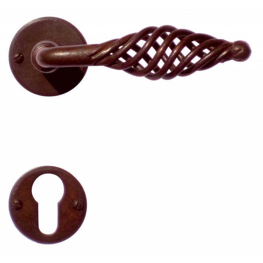 Deurklink Spiralus Roest rond met cilinderplaatjes