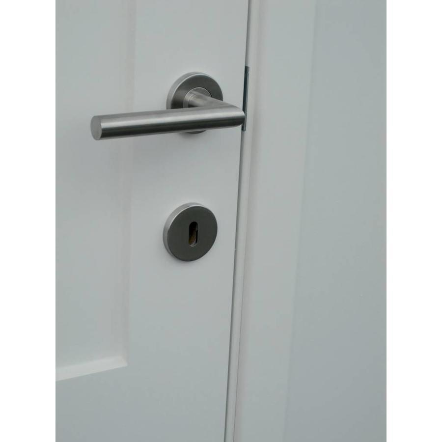 RVS deurklinken I shape 19mm met cilinderplaatjes