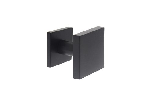 Front door knob fixed square one-sided mounting stainless steel / matte black