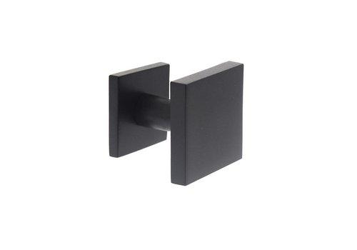 Voordeurknop vast vierkant 64/54 éénzijdig montage rvs/mat zwart