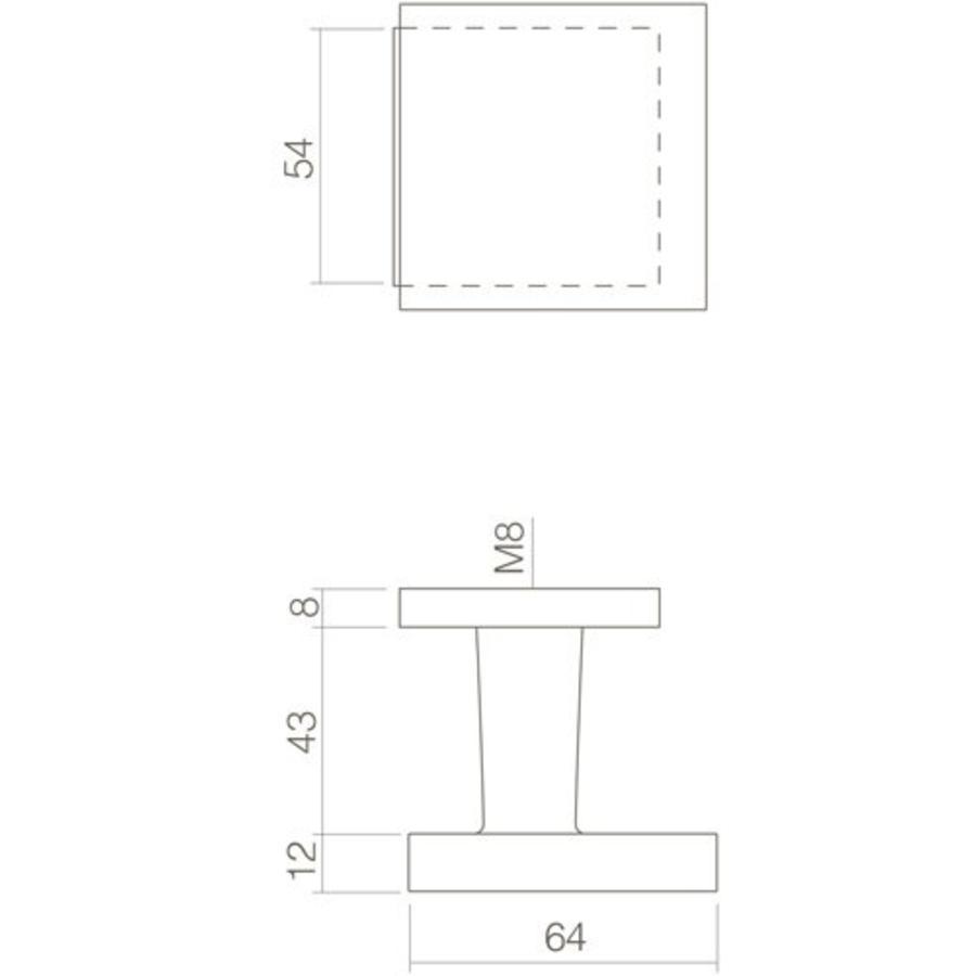 Voordeurknop vierkant verkropt 64/54 éénzijdige montage RVS/mat zwart