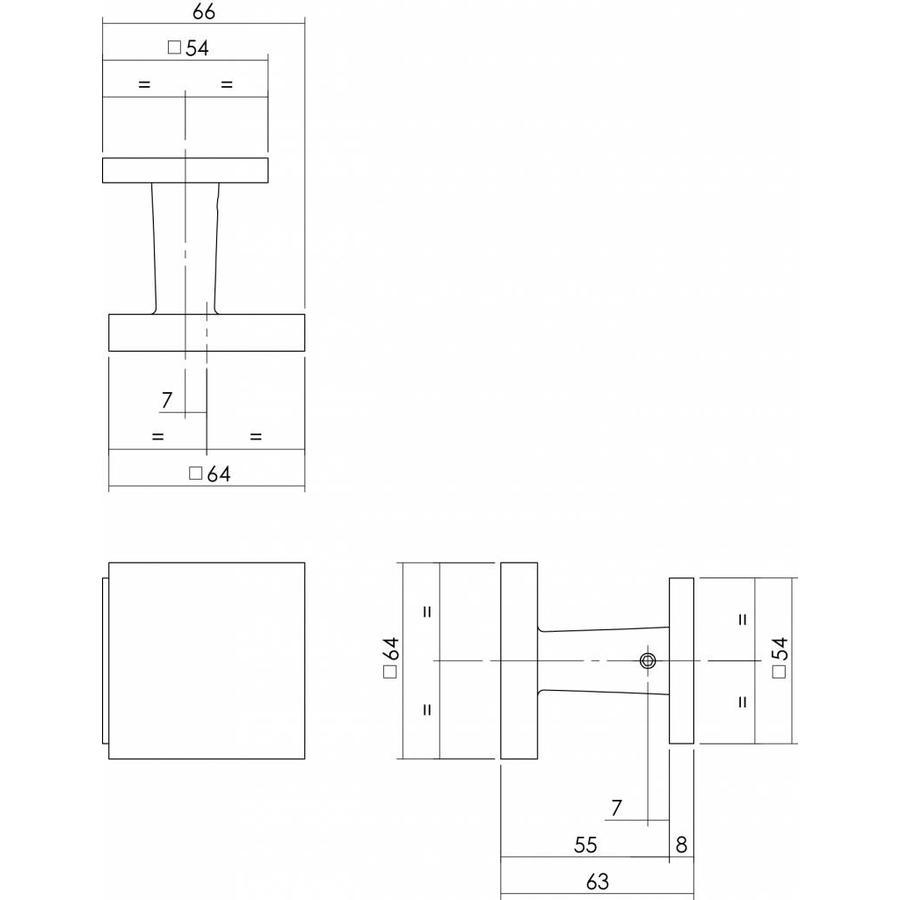 Voordeurknop vast vierkant 64/54 éénzijdige montage RVS