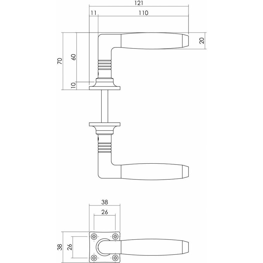 Deurkruk Ton Basic mat nikkel/ebbenhout met vierkant rozet