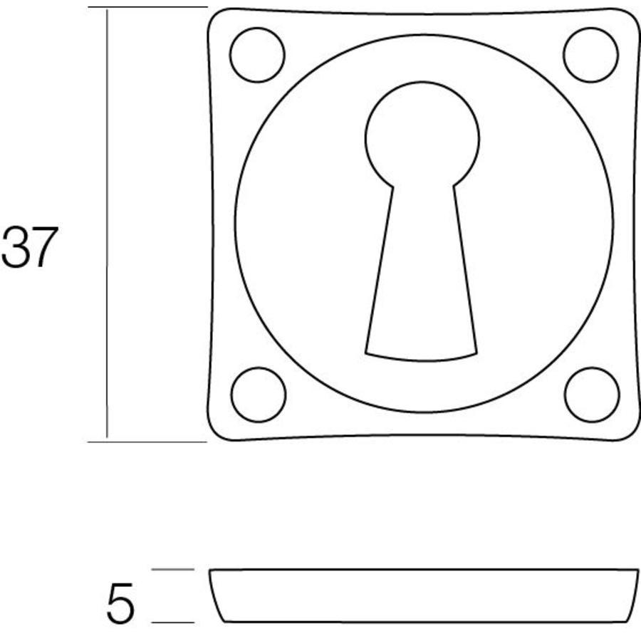 1 Sleutelplaatje vierkant basic nikkel mat