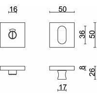 WC garnituur kubic shape inox plus 120 mm