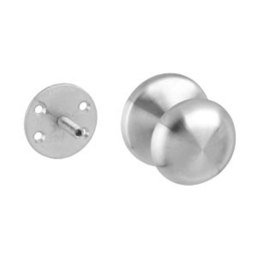 Front door knob fixed mushroom 58 / 66mm one-sided mounting stainless steel