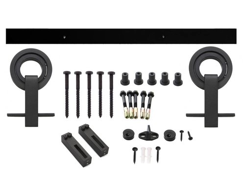 Sliding door system Modern top, suspension rollers with open wheel 155mm, steel matt black