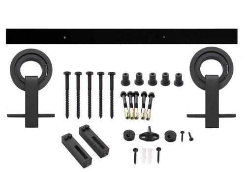 Système de porte coulissante Top moderne, roulettes suspendues avec roue ouverte 155mm, acier noir mat