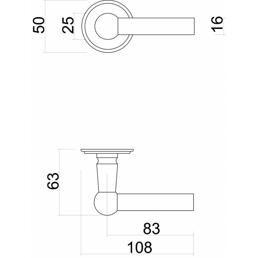 Antracietgrijze deurklinken Petana L+L met WC-garnituur