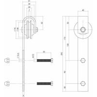 Set van 2 rollers recht 290mm tbv schuifdeursysteem 450101, incl. bevestiging, mat zwart