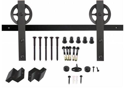 Gleitsystem, hängen Rollen 340mm Speichenrad, matter schwarzer Stahl