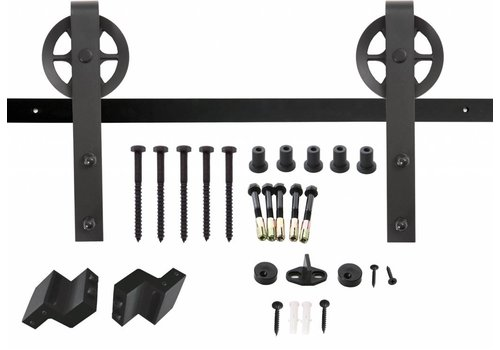 Sliding door system, hanging rollers with spoked wheel 345mm, steel matt black front