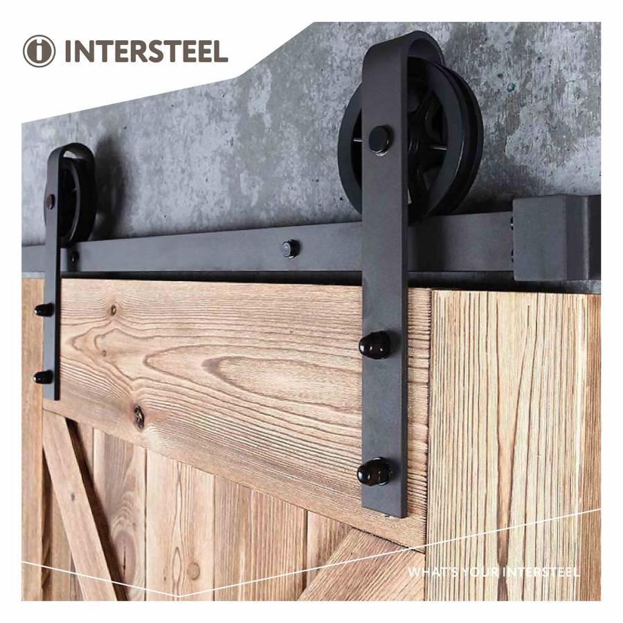 Set van 2 rollers spaakwiel 340mm tbv schuifdeursysteem 450121, incl. bevestiging, staal mat zwart