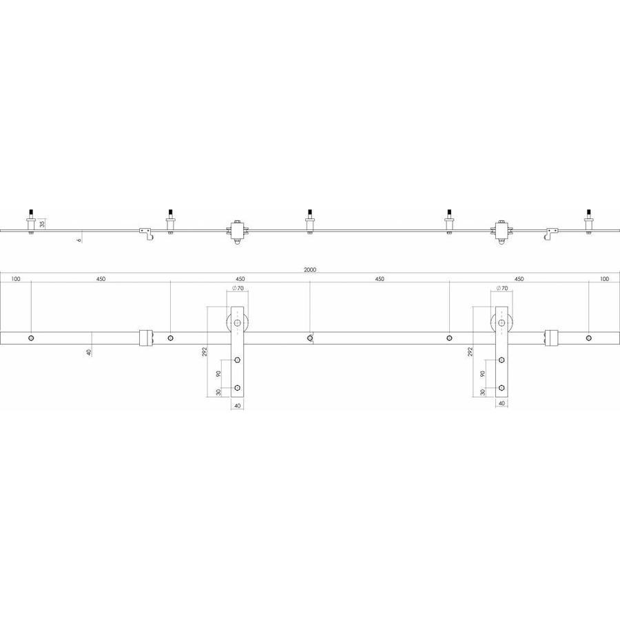 Schuifdeursysteem 2 meter, Basic voorzijde RVS