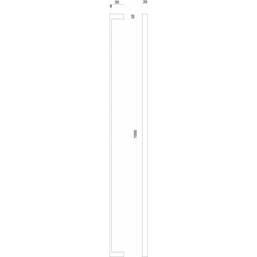 "Stainless steel door handle ""Cosmic"" U 20/1000 - through mounting"