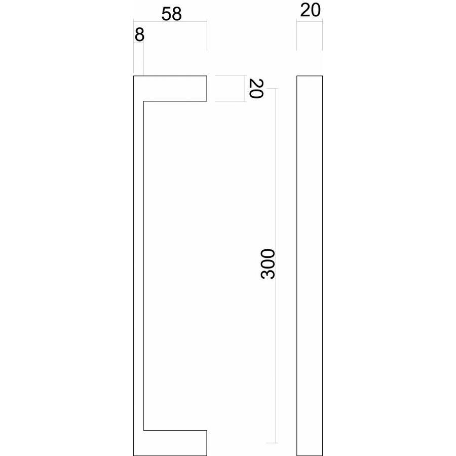 """RVS deurgrepen """"Cosmic"""" U 20/300 paar voor glazen deuren"""