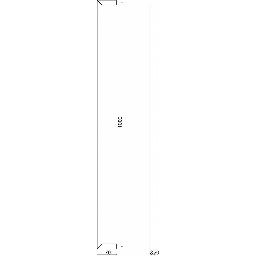 """RVS deurgrepen """"Urg"""" U 20/1000 paar voor glazen deuren"""