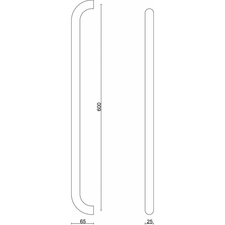 RVS deurgrepen U 25/600 paar voor glazen deuren