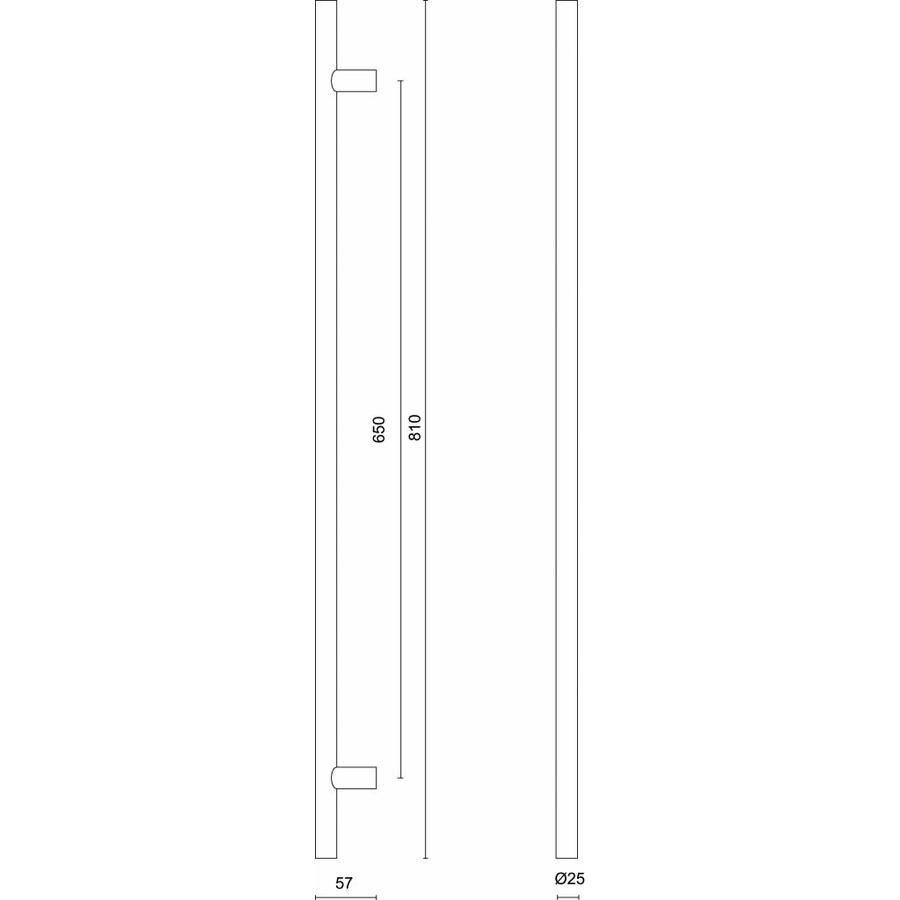 RVS deurgrepen T 25/650/810 paar voor glazen deur