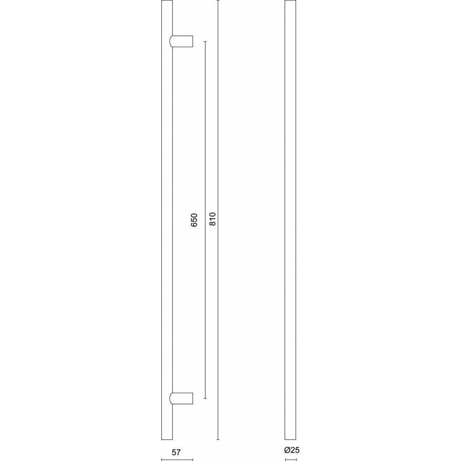 RVS deurgreep T 25/650/810 - doorgaande bevestiging