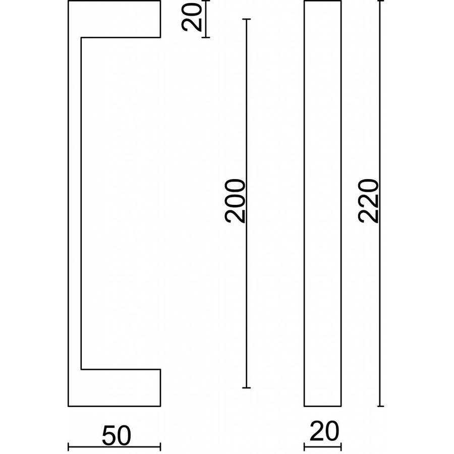 Deurgreep Cosmic 20/200 inox plus deurdikte > 3 cm