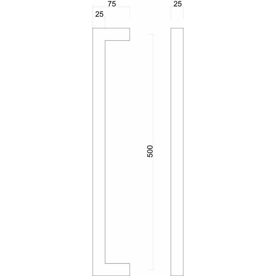 Deurgreep Cubica 25/500 inox plus deurdikte > 3 cm