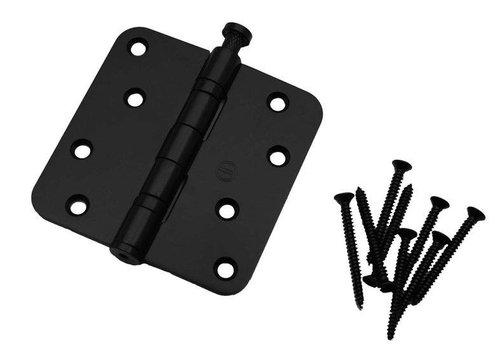 Kogelscharnier afgerond 89x89x2,5mm RVS zwart