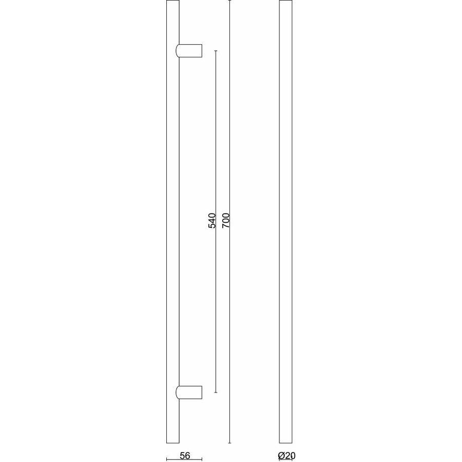 RVS deurgreep T 20/540/700 - doorgaande bevestiging