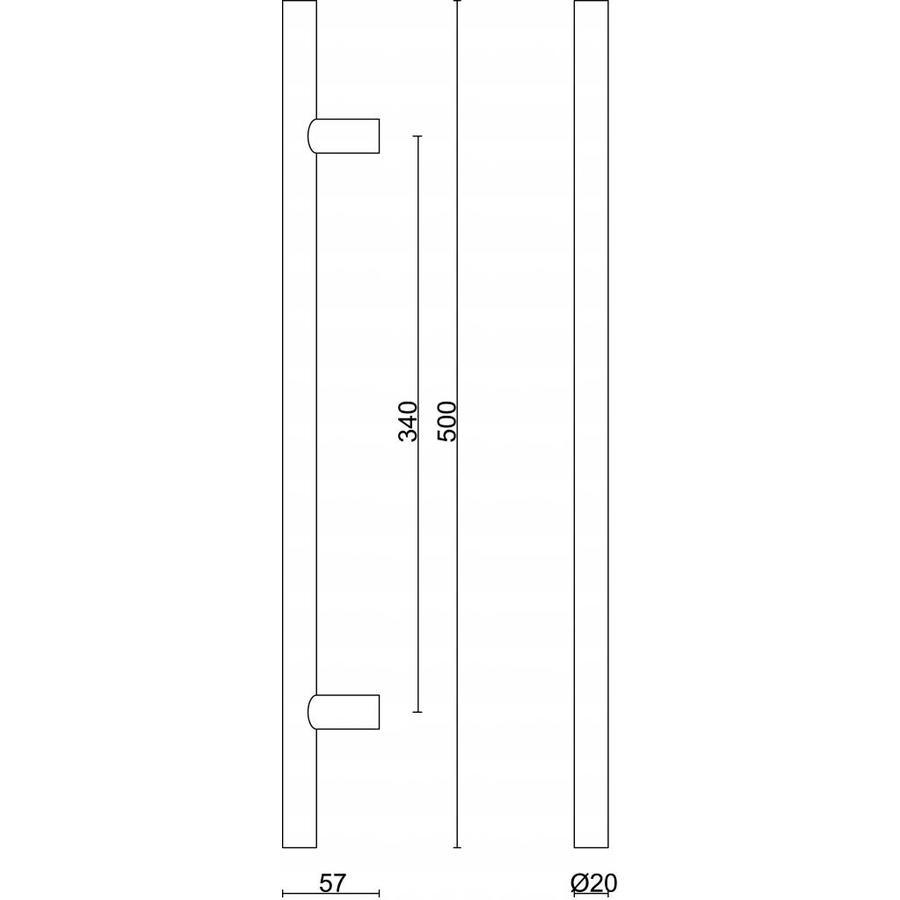 RVS deurgrepen T 20/340/500 paar voor glazen deur