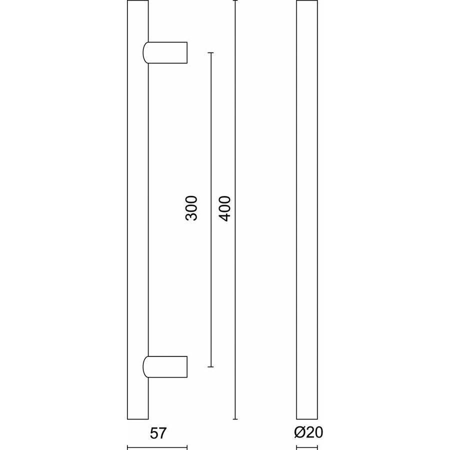 RVS deurgreep T 20/300/400 - doorgaande bevestiging