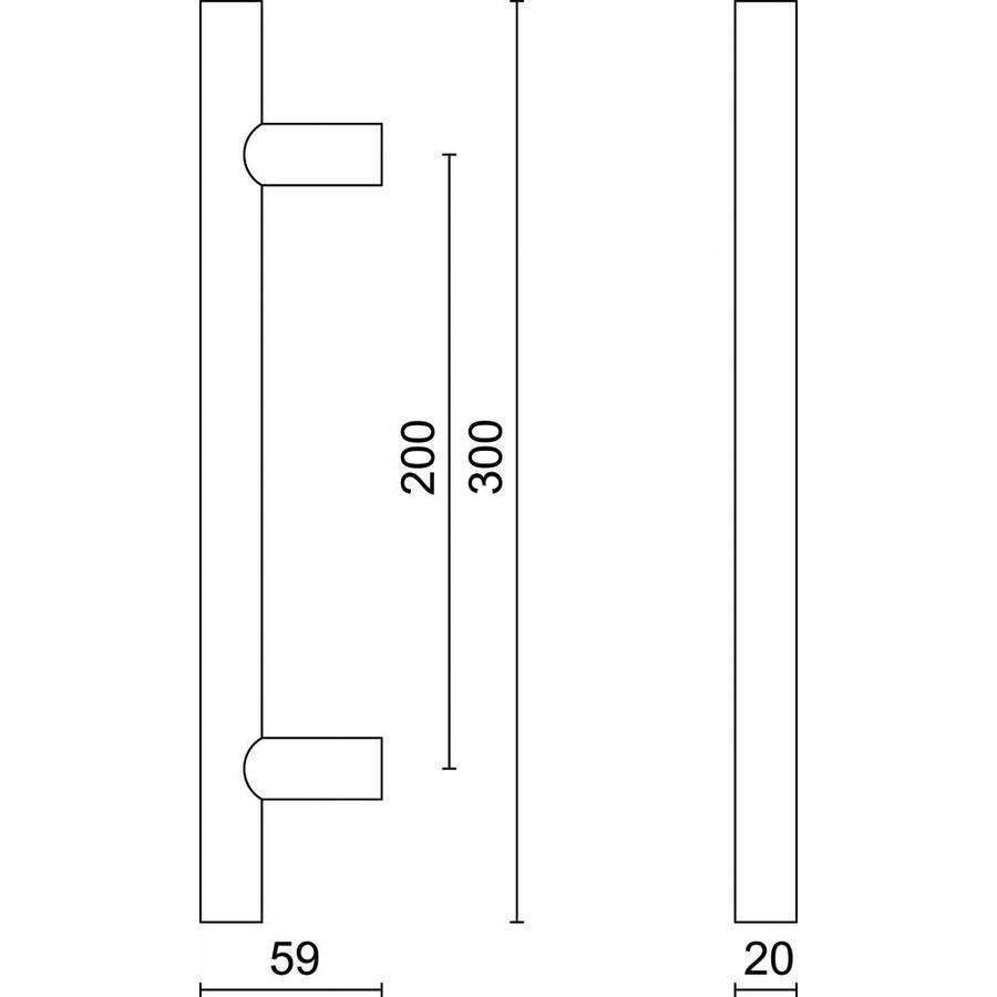 Deurgreep T 20/200/300 inox plus paar voor glazen deur