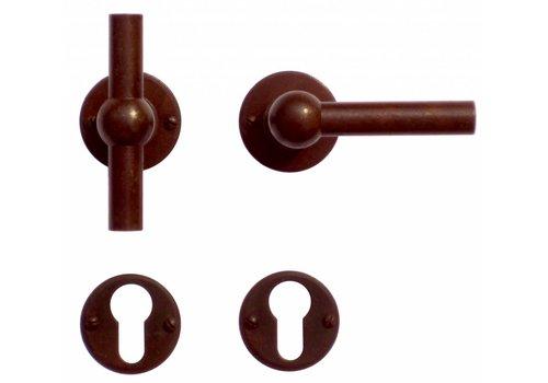 Door handles Petra NM T+L rust round with PZ