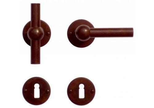 Poignées de porte Petra NM T + L rouille rondes avec plaques à clés