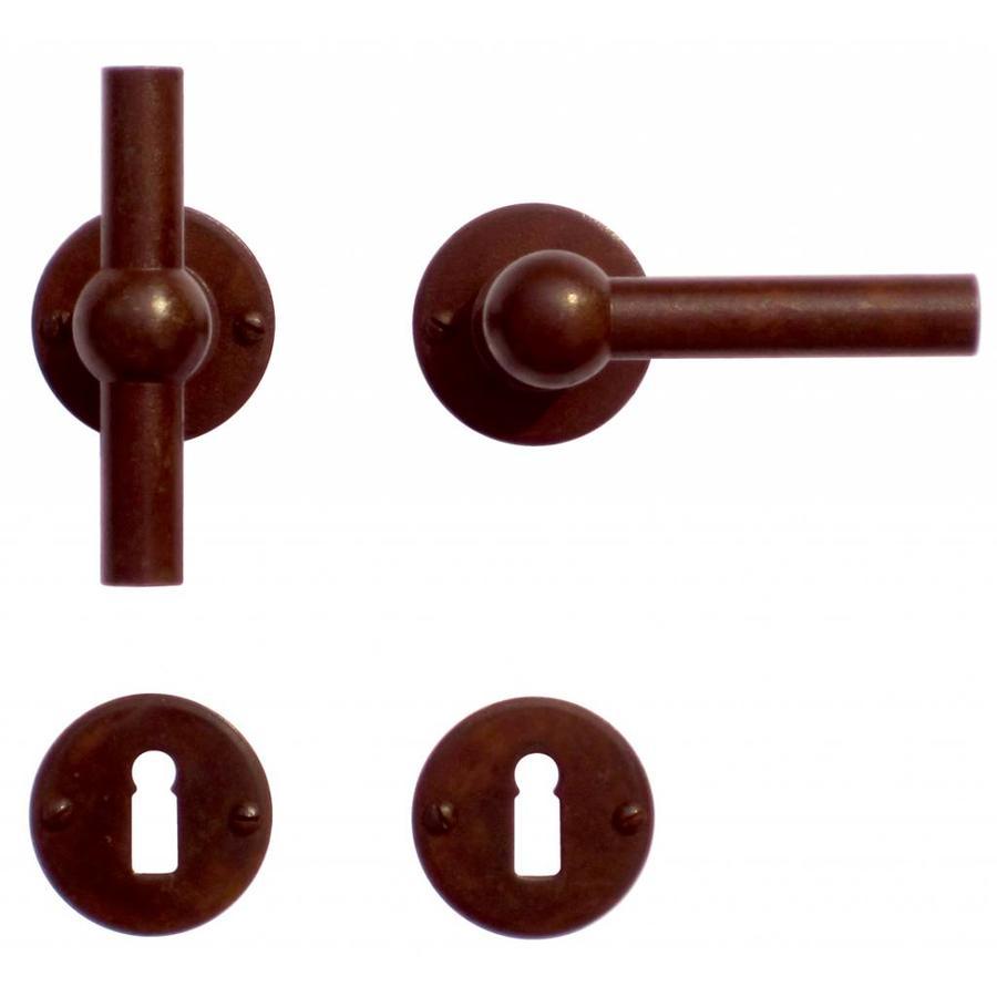 Deurklinken Petra NM T+L roest rond met sleutelplaatjes