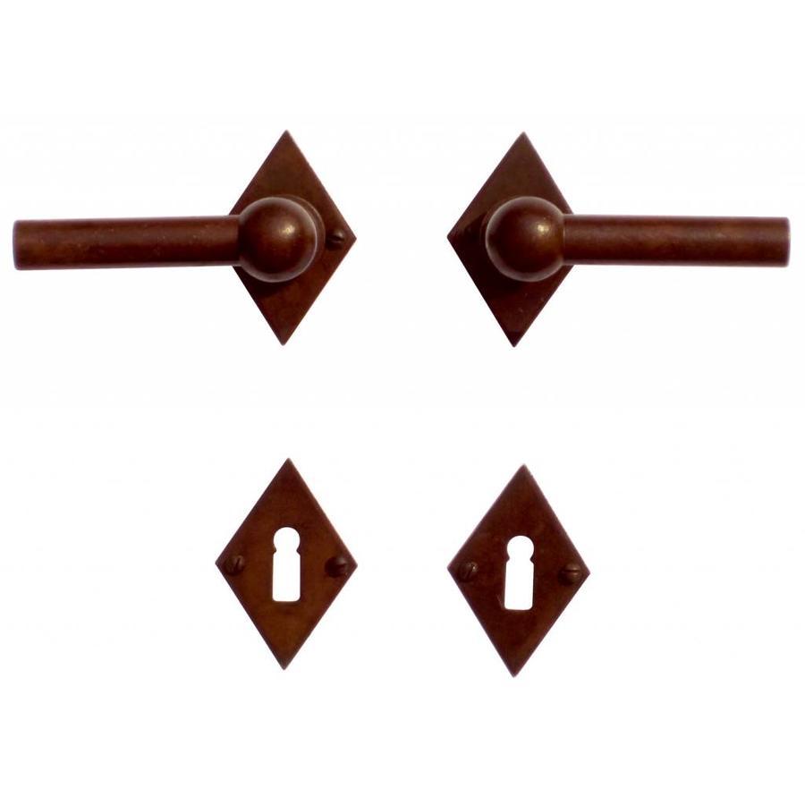 Deurklinken Petra L+L roest ruit met sleutelplaatjes
