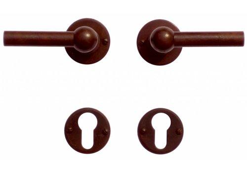 Poignées de porte Petra NM L+L rouille avec plaques cylindriques