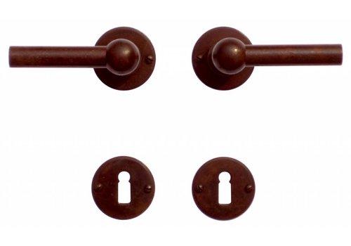 Poignées de porte Petra NM L + L rouille rondes avec plaques à clés