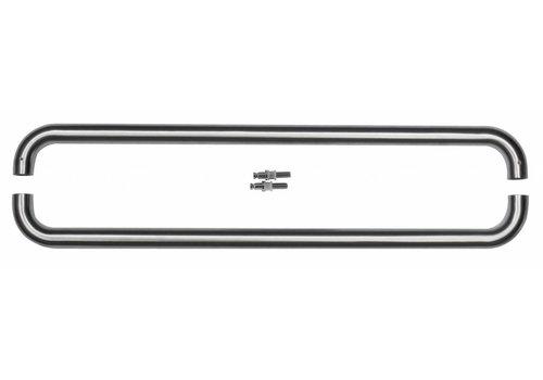 Stainless steel door handles U 25/600 pair for glass