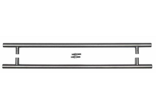 Stainless steel door handles T 25/650/810 pair for glass