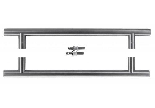 Stainless steel door handles T 20/300/400 pair for glass