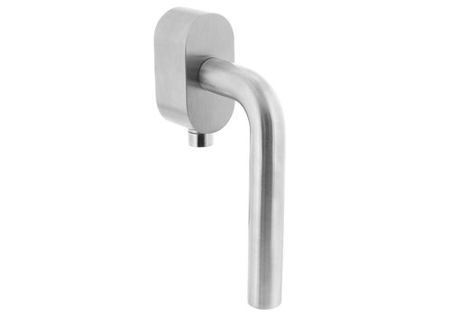 Lockable window handle on oval rosette brushed stainless steel SKG ***