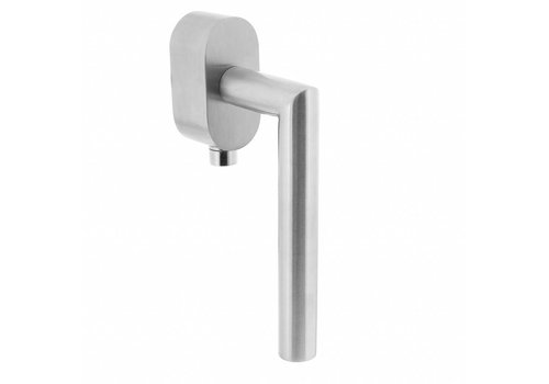 Lockable window handle angle 90 ° on oval rosette brushed stainless steel SKG ***