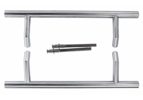 Poignée de porte STCOT 25/300/460 inox plus paire pour épaisseur de porte> 3 cm