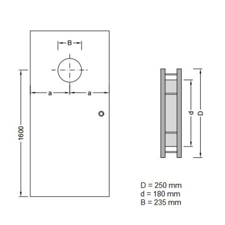 RVS patrijspoort B2000 250 mm met dubbel veiligheidsglas en éénzijdige bevestiging