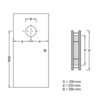 RVS patrijspoort B2000 300 mm + dubbel veiligheidsglas & tweezijdige bevestiging