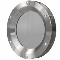 RVS patrijspoort B1000 500 mm + doorzichtig veiligheidsglas