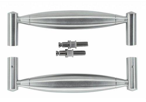 """Stainless steel door handles """"Saturn"""" U 19/210 pair for glass"""